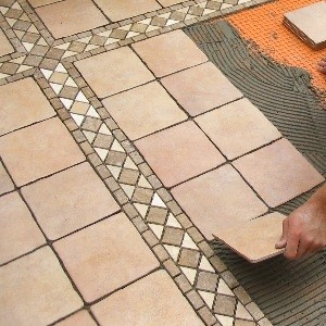 DIY bathroom floor tiling